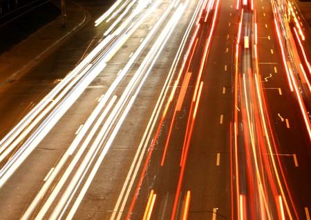Night city road lights (long exposure) photo