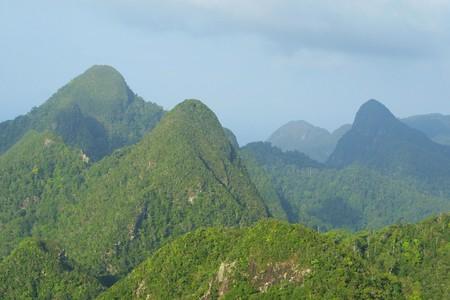 Rainforest hills on Langkawi island, Malaysia Standard-Bild