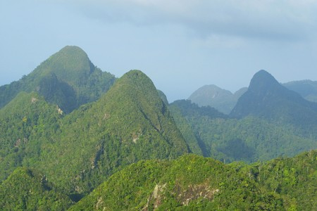 Rainforest hills on Langkawi island, Malaysia 스톡 콘텐츠