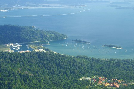 Bird view of Langkawi bay, Malaysia photo