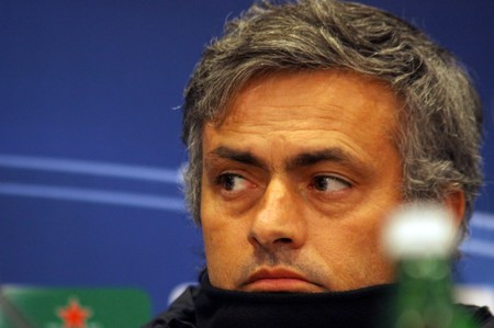 KIEV, UKRAINE - NOVEMBER 3, 2009: The head coach of FC Interazionale Milano Jose Mourinho looks on during a press conference before UEFA CL game against FC Dynamo Kyiv on November 3, 2009 in Kiev