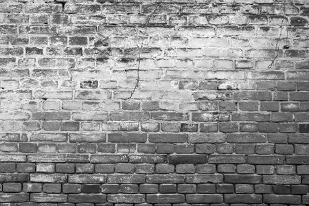 Ancient brickwall background, black/white 写真素材