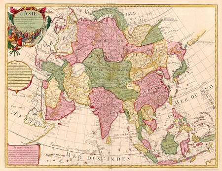 of siam: Ancient map of Asia