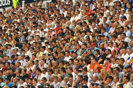 KYIV, UKRAINE - JULY 27, 2010: FC Dynamo Kyiv team supporters watch the UEFA Champions League game against Gent on July 27, 2010 in Kyiv, Ukraine Stock Photo - 8151106
