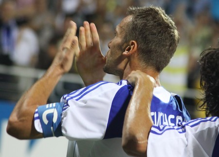 scored: KYIV, UKRAINE - JULY 27, 2010: Andriy Shevchenko of Dynamo Kyiv reacts after he scored a goal during UEFA Champions League game against Gent on July 27, 2010 in Kyiv, Ukraine Editorial