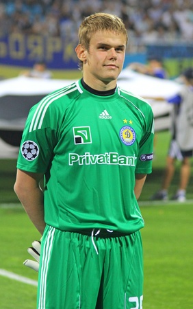KYIV, UKRAINE - AUGUST 17, 2010: FC Dynamo Kyiv goalkeeper Maxym Koval looks on during UEFA Champions League play-off game against AFC Ajax on August 17, 2010 in Kyiv, Ukraine