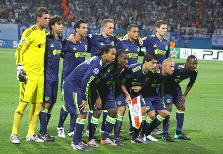 kyiv: KYIV, UKRAINE - AUGUST 17, 2010: AFC Ajax team pose for a group photo before UEFA Champions League play-off game against FC Dynamo Kyiv on August 17, 2010 in Kyiv, Ukraine Editorial