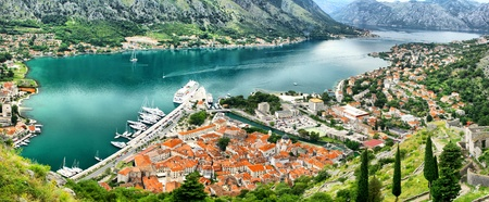 Panoramic view of Kotor bay (Boka Kotorska) and Kotor city, Montenegro. HDR filter photo