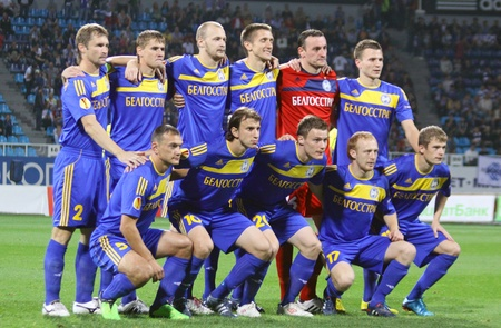 dynamo: KYIV, UKRAINE - SEPTEMBER 16, 2010: FC BATE Borisov team pose for a group photo before UEFA Europa League game against Dynamo Kyiv on September 16, 2010 in Kyiv, Ukraine