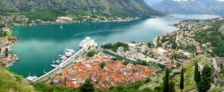 kotor: Panoramic view of Boka-Kotorska bay, and Kotor city, Montenegro Stock Photo