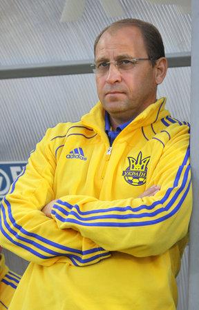KYIV, UKRAINE - SEPTEMBER 3, 2010: The head coach of Ukraine (Under-21) national team Pavlo Yakovenko looks on during UEFA European Under-21 Championship qualifying game against France on September 3, 2010 in Kyiv, Ukraine Stock Photo - 8607791