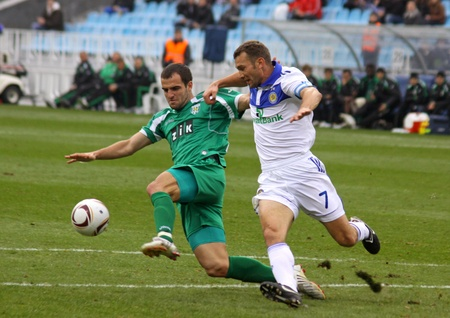 ivan: KYIV, UKRAINE - OCTOBER 16, 2010: Andriy Shevchenko of Dynamo Kyiv (R) fights for the ball with Ivan Milosevic of Karpaty Lviv during their Ukraine Championship on October 16, 2010 in Kyiv, Ukraine Editorial