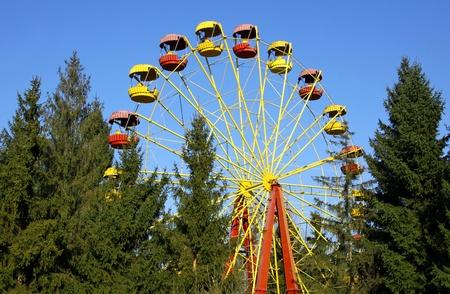 Vintage Ferris wheel in an amusement park photo