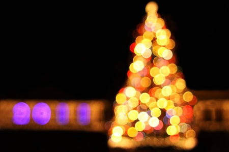 Bokeh lights of New Years tree  photo