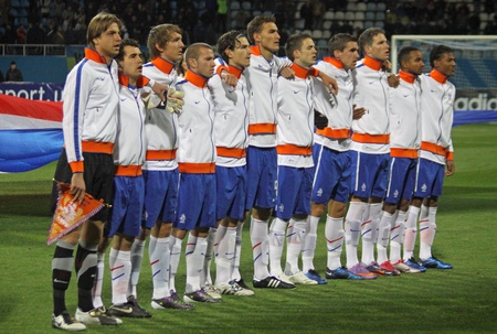 KYIV, UKRAINE - OCTOBER 12, 2010: Players of Holland (Under-21) National team sing the hymn before UEFA European Under-21 Championship play-off game against Ukraine on October 12, 2010 in Kyiv, Ukraine Stock Photo - 8722572