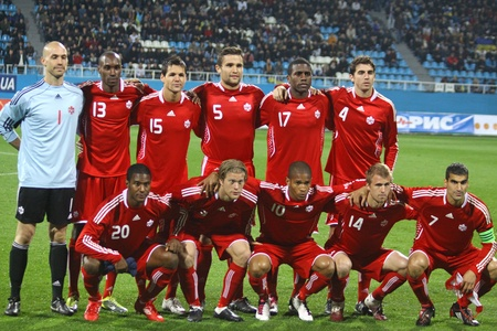 KYIV, UKRAINE - OCTOBER 8, 2010: Canada national soccer team pose for a group photo before friendly game against Ukraine on October 8, 2010 in Kyiv, Ukraine