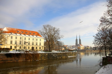 View on the Oder river and Cathedral Island (Ostrow Tumski) in Wroclaw city, Poland photo