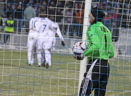 KYIV, UKRAINE - FEBRUARY 24, 2011: Goalkeeper Rustu Recber of Besiktas missed a goal during UEFA Europa League game against FC Dynamo Kyiv on February 24, 2011 in Kyiv, Ukraine Stock Photo - 9020936