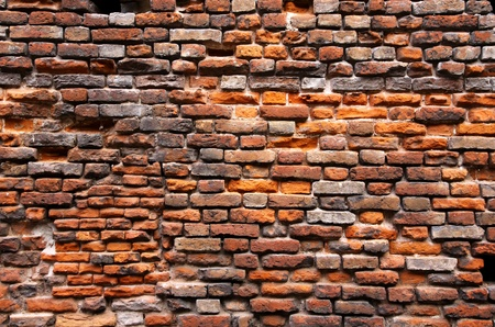 brick work: Close-up old red brick wall Stock Photo
