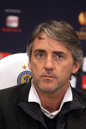 KYIV, UKRAINE - MARCH 9, 2011: FC Manchester City manager Roberto Mancini attends a press-conference before UEFA Europa League game against FC Dynamo Kyiv on March 9, 2011 in Kyiv, Ukraine Stock Photo - 9205601