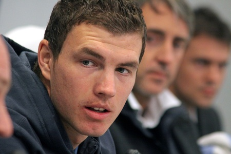 KYIV, UKRAINE - MARCH 9, 2011: FC Manchester City striker Edin Dzeko attends a press-conference before UEFA Europa League game against FC Dynamo Kyiv on March 9, 2011 in Kyiv, Ukraine