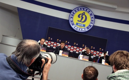 KYIV, UKRAINE - MARCH 9, 2011: Photographers take a pictures during press-conference before UEFA Europa League game between Manchester City and FC Dynamo Kyiv on March 9, 2011 in Kyiv, Ukraine