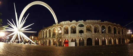 Ancient roman amphitheatre Arena in Verona, Italy. Most famous open air theater in the world Stock Photo