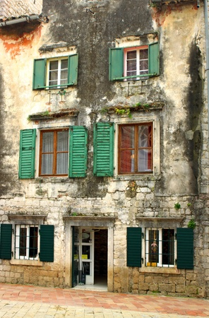 Small plaza with buildings in Kotor Old Town, Montenegro    photo