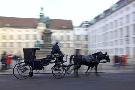 Horse-driven carriage at Hofburg palace, Vienna, Austria photo
