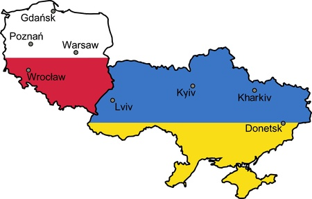 Map of Ukraine and Poland - the host countries of UEFA Euro 2012
