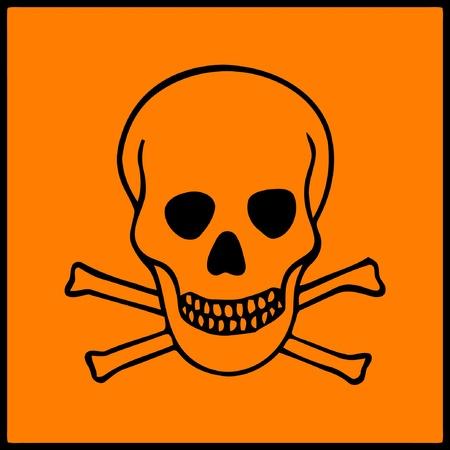 riesgo quimico: imagen de s�mbolo de peligro se presenta sobre productos peligrosos