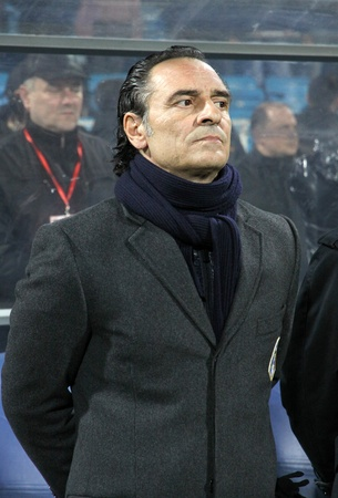 kyiv: KYIV, UKRAINE - MARCH 29, 2011: Italy national team manager Cesare Prandelli looks on during friendly game against Ukraine on March 29, 2011 in Kyiv, Ukraine