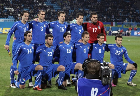 KYIV, UKRAINE - MARCH 29, 2011: Italy National Football team pose for a group photo during friendly game against Ukraine on March 29, 2011 in Kyiv, Ukraine