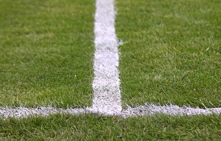 White stripes on the green football soccer field photo