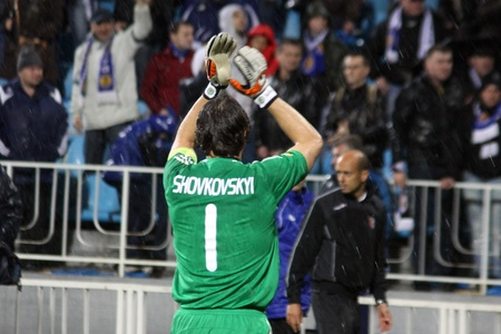 KYIV, UKRAINE - APRIL 7, 2011: Goalkeeper Oleksandr Shovkovskyi of Dynamo Kyiv thanks fans for support after UEFA Europa League game against SC Braga on April 7, 2011 in Kyiv, Ukraine