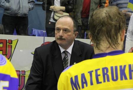 KYIV, UKRAINE - APRIL 23, 2011: The head coach of Ukraine David Lewis looks on during IIHF Ice-hockey World Championship DIV I Group B game against Kazakhstan on April 23, 2011 in Kyiv, Ukraine