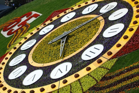KYIV, UKRAINE - May 15, 2010: On the occasion of 65th Victory holiday flower clock is opened on May 15, 2010 in Kyiv, Ukraine. It is one of the biggest flower clock in the world (19,5m. in diameter) Stock Photo - 9889495