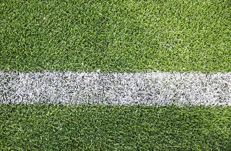 White stripe on the green soccer/football field Stockfoto