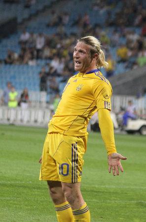 KYIV, UKRAINE - JUNE 1, 2011: Andriy Voronin of Ukraine reacts after missed a goal against Uzbekistan during their Friendly game on June 1, 2011 in Kyiv, Ukraine