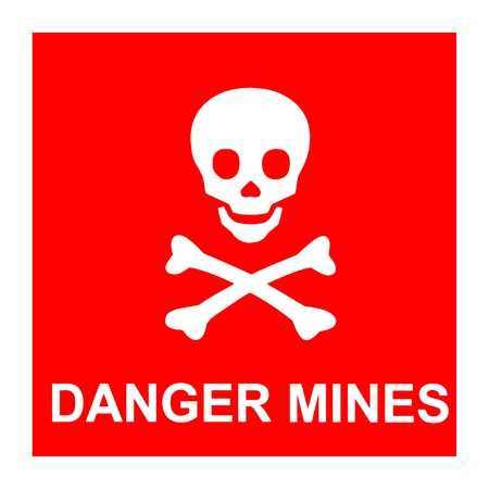 landmine: Vector image of red sign with skull and text *Danger mines* Illustration