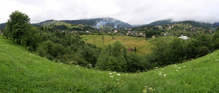 Panoramic view of Vorokhta village in Carpathian mountains, Ukraine Stock Photo - 10762035