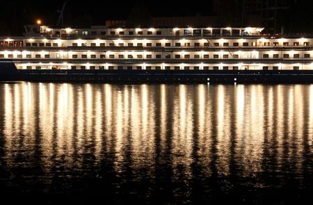 Night view with steamship in Sevastopol bay, Ukraine photo