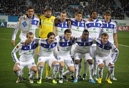 gusev: KYIV, UKRAINE - OCTOBER 20, 2011: FC Dynamo Kyiv team pose for a group photo during UEFA Europa League game against Besiktas on October 20, 2011 in Kyiv, Ukraine Editorial