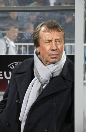 KYIV, UKRAINE - OCTOBER 20, 2011: FC Dynamo Kyivs manager Yuri Semin looks on during UEFA Europa League game against Besiktas on October 20, 2011 in Kyiv, Ukraine Stock Photo - 11100220