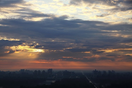 Sunrise over the city. Bird-eye view. Kyiv, Ukraine photo