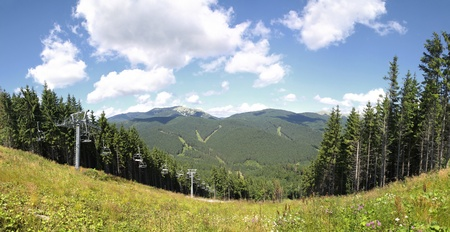 Panoramic view of track of Bukovel ski resort in summer, Carpathian mountains, Ukraine Stock Photo - 11174306