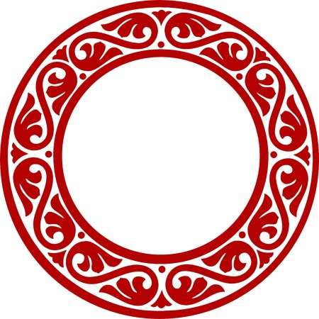 East-European traditional decorative circle framework with abstract flowers Illusztráció