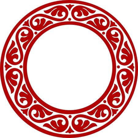 East-European traditional decorative circle framework with abstract flowers Ilustração