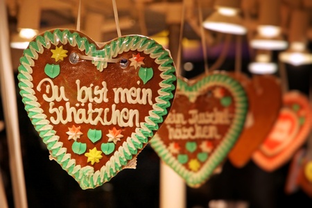 Traditional German handmade gingerbread heart used as christmas decoration
