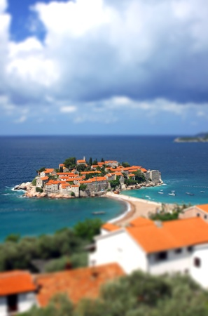 sveti: Sveti Stefan island in Adriatic sea, Montenegro. Tilt-shift miniature effect Editorial